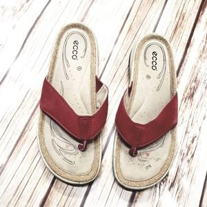Ecco Red Thong Sandals Cushioned Comfort 42 11